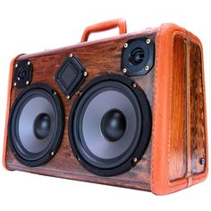 """Our most popular size Boomcase with a WoodGrain & Clear Coat Finish. Featuring two 6.5"""" Woofers and 50 watts of power. Full balanced sound in compact portable package."""