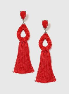 636a75b88 Red Seed Bead And Tassel Earrings Tassel Earrings, Drop Earrings, Crochet  Earrings, Red