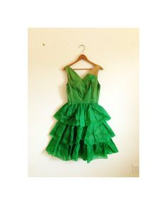 1940s-1950s SPRING GREEN organdy party dress