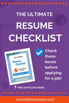 Hang on - don't send that resume until you check these boxes! Grab my free, downloadable & printable Ultimate Resume Checklist so that you can make sure your resume is in tip-top shape before you apply for a job. Career Success, Career Change, Career Advice, Perfect Resume, Best Insurance, Career Options, Resume Tips, Investing Money, Make More Money