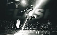 Dwyane Wade, NBA, basketball players, monochrome, dunk