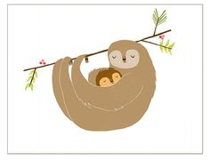 Notecard Mama Sloth by laurageorge on Etsy