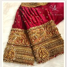 25 Dashing Red Work Blouse designs to try for your wedding - Wedandbeyond Saree Jacket Designs, Wedding Saree Blouse Designs, Pattu Saree Blouse Designs, Blouse Designs Silk, Designer Blouse Patterns, Hand Work Blouse Design, Stylish Blouse Design, Sleeves Designs For Dresses, Sleeve Designs