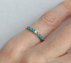 Turquoise and Diamond Wedding Ring Turquoise Diamond Band