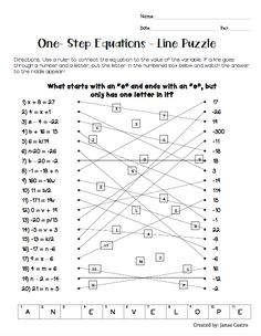 One-step equations, algebra review puzzle. FREE High school or middle school algebra activity. Solving equations.