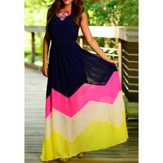 GM-Fashion Blue Color Block Print Round Neck Fashion Maxi Dress
