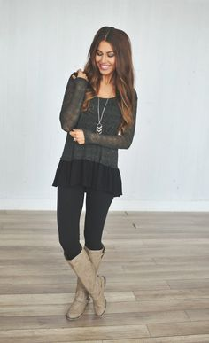 Dottie Couture Boutique - Ruffle Knit Sweater- Olive, $36.00 (http://www.dottiecouture.com/ruffle-knit-sweater-olive/)