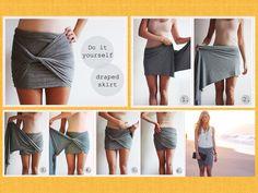 Saia drapeada feita com lenço