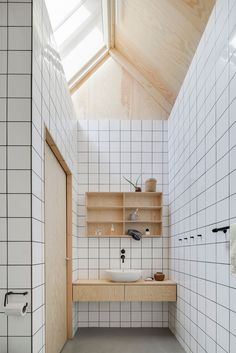 square tiles + wood.