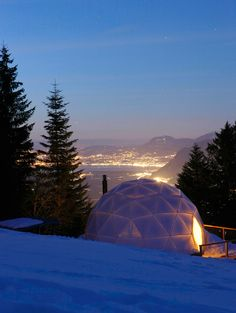 The Whitepod, a high-altitude geodesic dome in Massongex, Switzerland