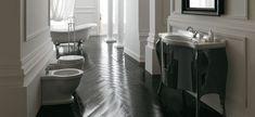 Ethos - washbasin, sanitary wares, bath tub and cabinet -- Collezione Ethos: lavabo, sanitari, vasca e arredo bagno