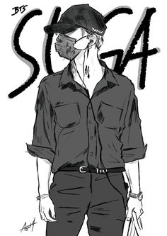 "AGUST4 on Twitter: ""Suga in All Black Fan Art #btsfanart #MGMAVOTE #BTS @BTS_twt… "" Bts, Fan Art, Shit Happens, Twitter, Black, Black People, Fanart"
