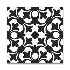 Sefrou Black and White Handmade Cement Moroccan Tiles (pack of (Morocco)