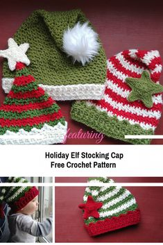 Absolutely Adorable Holiday Elf Stocking Cap Crochet Pattern - Knit And Crochet Daily Crochet Christmas Hats, Crochet Christmas Decorations, Christmas Crochet Patterns, Holiday Crochet, Crochet Blanket Patterns, Crochet Gifts, Diy Crochet, Crochet Stitches, Knitting Patterns