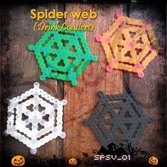 Spider web coaster set perler beads by siren_7