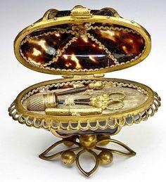 Palais Ryal Sewing Etui, 4 tools, Faux Tortoise Shell BIN $895.50