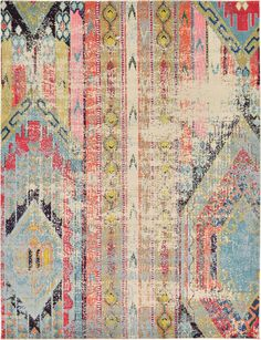 """This Turkish Santa Fe rug is made of Polypropylene. This rug is easy-to-clean, stain resistant, and does not shed. Colors found in this rug include: Multi, Beige, Blue, Brown, Orange, Red, Yellow, Pink, Peach, Light Blue, Olive. The primary color is Multi. This rug is 1/2"""" thick."""