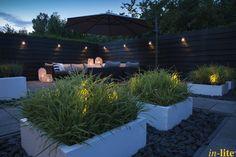 Tuinwand als blikvanger | Houten schutting | Wandlamp WEGDE DARK | Inspiratie | Grondspot DB-LED (WW) in borders | Buitenverlichting 12V
