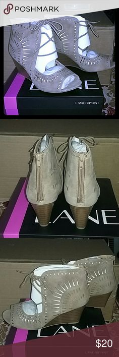 """Lane Bryant cutout peep toe wedge brand new Two sizes available.  Size 11w and 12w Brand new with """"tags"""" Heel height is 3.5 inches Back sip up closure Lane Bryant Shoes Wedges"""