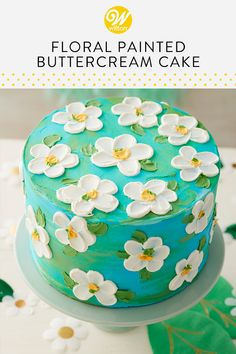 This Summer Blooms Buttercream Flower Cake is almost too pretty to eat! Create a beautiful watercolor background by blending shades of green and blue icings together, then top your cake off with simpl Pretty Cakes, Beautiful Cakes, Pretty Birthday Cakes, Mini Cakes, Cupcake Cakes, Buttercream Techniques, Buttercream Flower Cake, Buttercream Cake Designs, Buttercream Cake Decorating