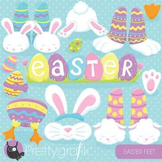 80% OFF SALE Easter bunny feet clipart by Prettygrafikdesign