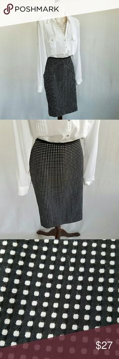 White House Black Market squared away pencil skirt Black pencil skirt patterned with precise grid of small white squares.  Fully lined with grosgrain ribbon trim on waist, back zip, and kick pleat.  Polished and professional.  Waist 17 / length 22 inches.  Shell 73% polyester, 26% rayon, 1% spandex; lining 100% polyester.  Thanks for visiting my closet; come back soon & see what's new! I add listings every week! White House Black Market Skirts