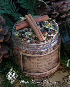 Yule Twelfth Night Casting Herbs 6oz . Yule Bonfires . Winter Solstice . With Traditional Woods, Fruits and Berries