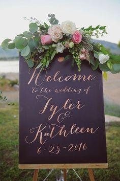 custom rose gold wedding sign