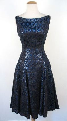 Vintage 50's Black Blue Lace Full Skirt Party Cocktail Dress - gorgeous fabric!