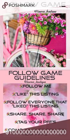 🌸#14 FOLLOW GAME🌸LIKE, FOLLOW, SHARE!🌸 #14 FOLLOW GAME🌸LIKE, FOLLOW, SHARE!🌸Return to follow new posher's! Let's work together to increase our followers!   Thank you for visiting @lauras_boutique! I hope that you find something that you love in my closet!😘💞xoxo    🌸Suggested User  🌸3X Party Co-Host  🌸Posh Mentor  🌸Top Rated Seller  🌸Top 10% Seller  🌸Top 10% Sharer  🌸Fast Shipper Laura's Boutique Other
