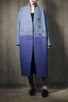 Twin Pocket Hit Color Coat - BLUE L