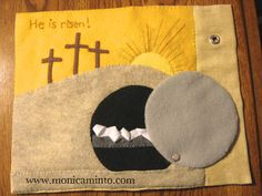 Fabric Art : Couple more pages to Quiet Book Bible Quiet Book, Busy Book, Book Projects, Sewing Projects, Bible Story Crafts, Bible Stories, Quiet Book Patterns, Easter Story, Felt Quiet Books