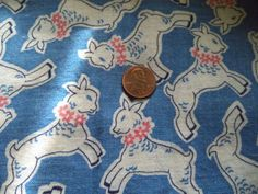 VINTAGE FEEDSACK FABRIC ~NOVELTY LAMBS SHEEP 21 X 36 COTTON QUILT SEW FABRIC VGC