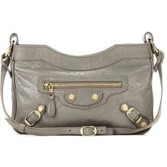 Balenciaga Giant 12 Hip Leather Shoulder Bag ($965) ❤ liked on Polyvore featuring bags, handbags, shoulder bags, grey, balenciaga purse, real leather handbags, taupe handbag, genuine leather shoulder bag and 100 leather handbags