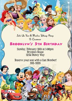 Disney Characters birthday party custom by PrintableDigiDesigns, $15.99