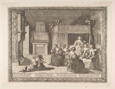 1633.Bosse, Abraham. Visit to the New Mother (La Visite à l'accouchée). 1633. Etching with engraving; second state of two (Join-Lambert and Préaud). 11 5/8 x 14 15/16 in. (29.5 x 38 cm). Metropolitan Museum of Art, New York NY.