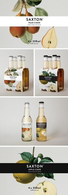 Saxton Pear Cider Packaging and Labeling. Juice Packaging, Beverage Packaging, Bottle Packaging, Brand Packaging, Design Packaging, Coffee Packaging, Organic Packaging, Design Blog, Food Design