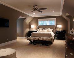 Brown grey walls, lighter ceiling and floor