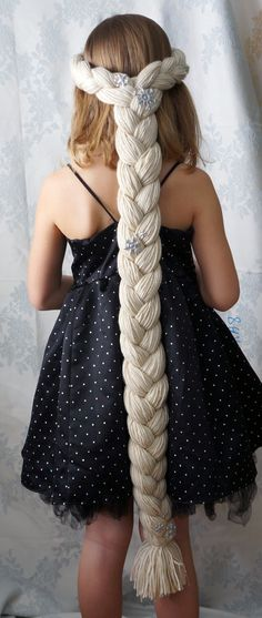 DIY yarn or fabric wigs for dress up! I like that this goes on like a crown. Seems like it would be easier to get a good fit this way. Elsa Inspired Frozen Princess Play Wig Silver by WigwamPlayWigs
