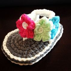 Handmade Crochet Baby Sandals for Newborn to 12 months. $15.00, via Etsy.