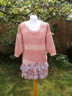 Upcycled Sweater Dress 'Orange Poppies' UK by StrangelyMagical