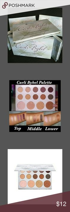 New Carli Bybel eyeshadow & highlighter palette This is a brand new Harley Bible Shadow and highlight palette to create a gold smokey eye or just a natural nude eye with a highlight to give your face the finished look he's one of the best eyeshadows I have ever owned and has a high later as well beautiful hair color for warm tones and very blendable have any questions let me know Makeup Eyeshadow