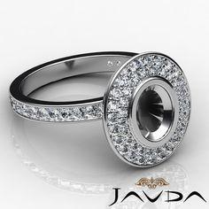 Diamond Engagement Oval Shape Semi Mount Halo Pave Ring 14k White Gold 0 75ct | eBay