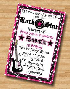 Hot Pink Black Girl Guitar Rock Star 1st Birthday Invitation Invite