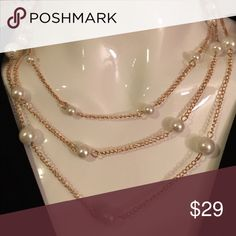 """Pearl and Gold Chain Necklace Three strand 18"""" Denis & Charles Pearl and Gold Necklace Rush by Denis and Charles Jewelry Necklaces"""