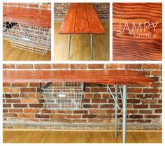 This one didn't even make it to public sale. The buyers saw my sneak peek photo while I was working on it and snapped it up!  This is half of an old barn door. Sanded to bare wood and stained cherry. Mid-century table legs and a cool old wire basket for a drawer. www.jampy.co - SOLD