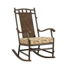 Woodard Chatham Small Rocking Chair with Cushions Fabric: Sunbrella Beachball Bluestone