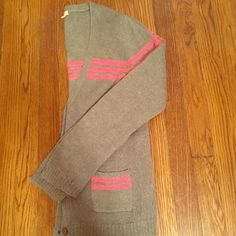 J crew sweater Good condition j crew gray sweater with hot pink stripes J. Crew Sweaters Cardigans