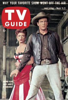 "TV Guide, March 15, 1958 - Amanda Blake and James Arness of ""Gunsmoke"""