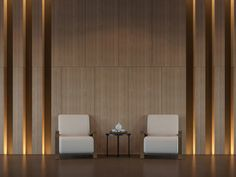 Modern living room interior minimal style rendering image,There are minimalist style decorate room with wood and hidden warm light Lobby Interior, Office Interior Design, Interior Walls, Office Interiors, Living Room Interior, Ballroom Design, Feature Wall Design, Lobby Design, Lounge Design